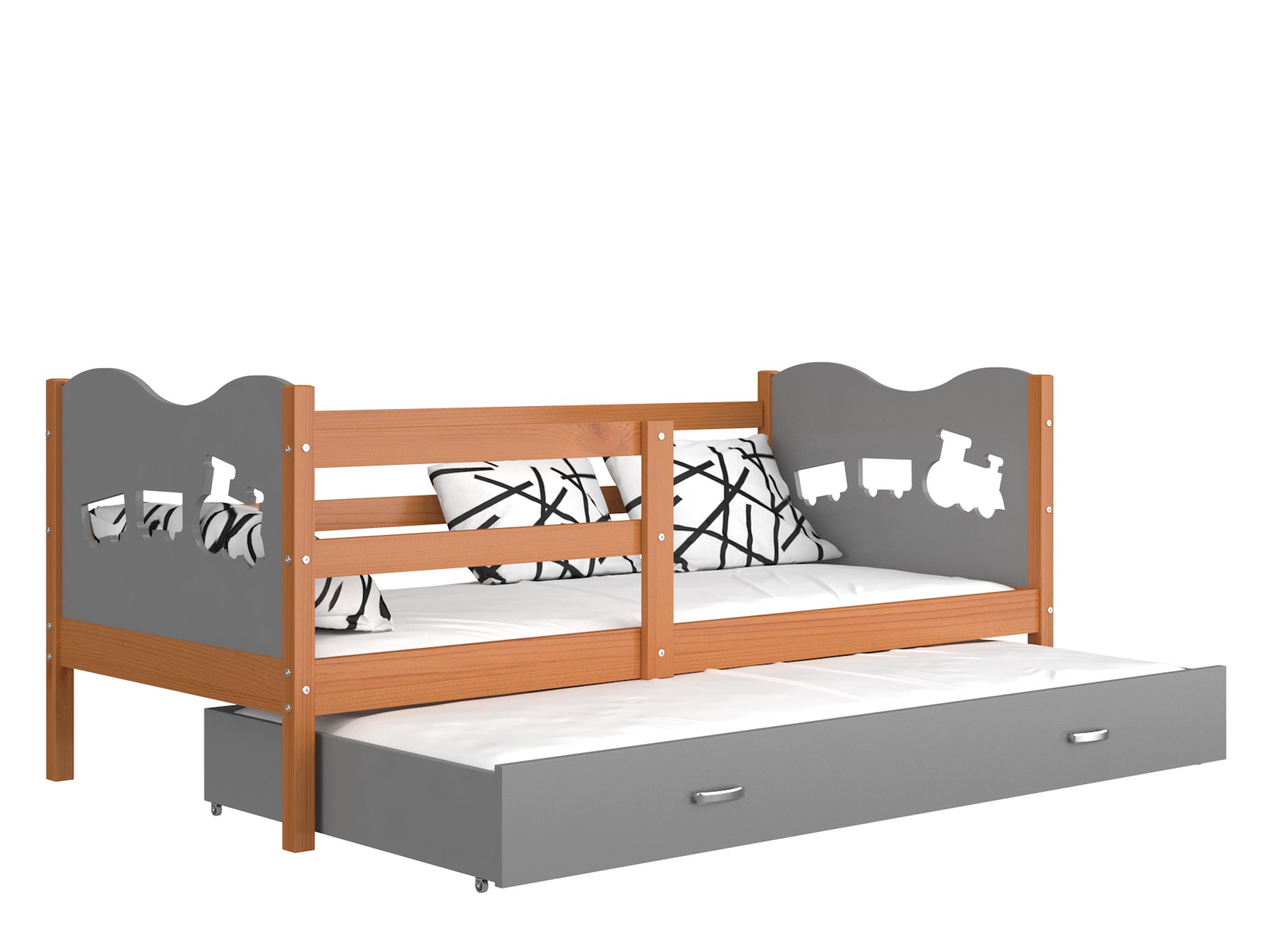 ArtAJ Detská posteľ Max P2 drevo / MDF 190 x 80 cm Max: jelša / sivá s matracom 190 x 80 cm