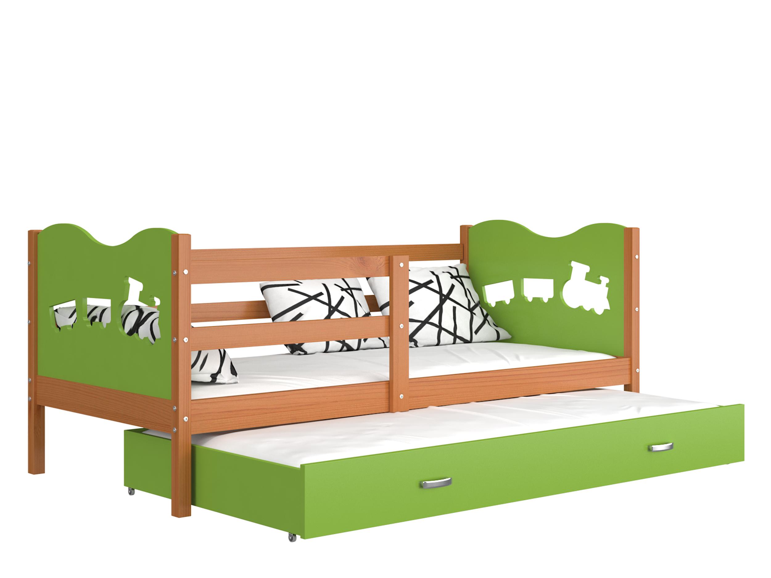 ArtAJ Detská posteľ Max P2 drevo / MDF 190 x 80 cm Max: jelša / zelená s matracom 190 x 80 cm