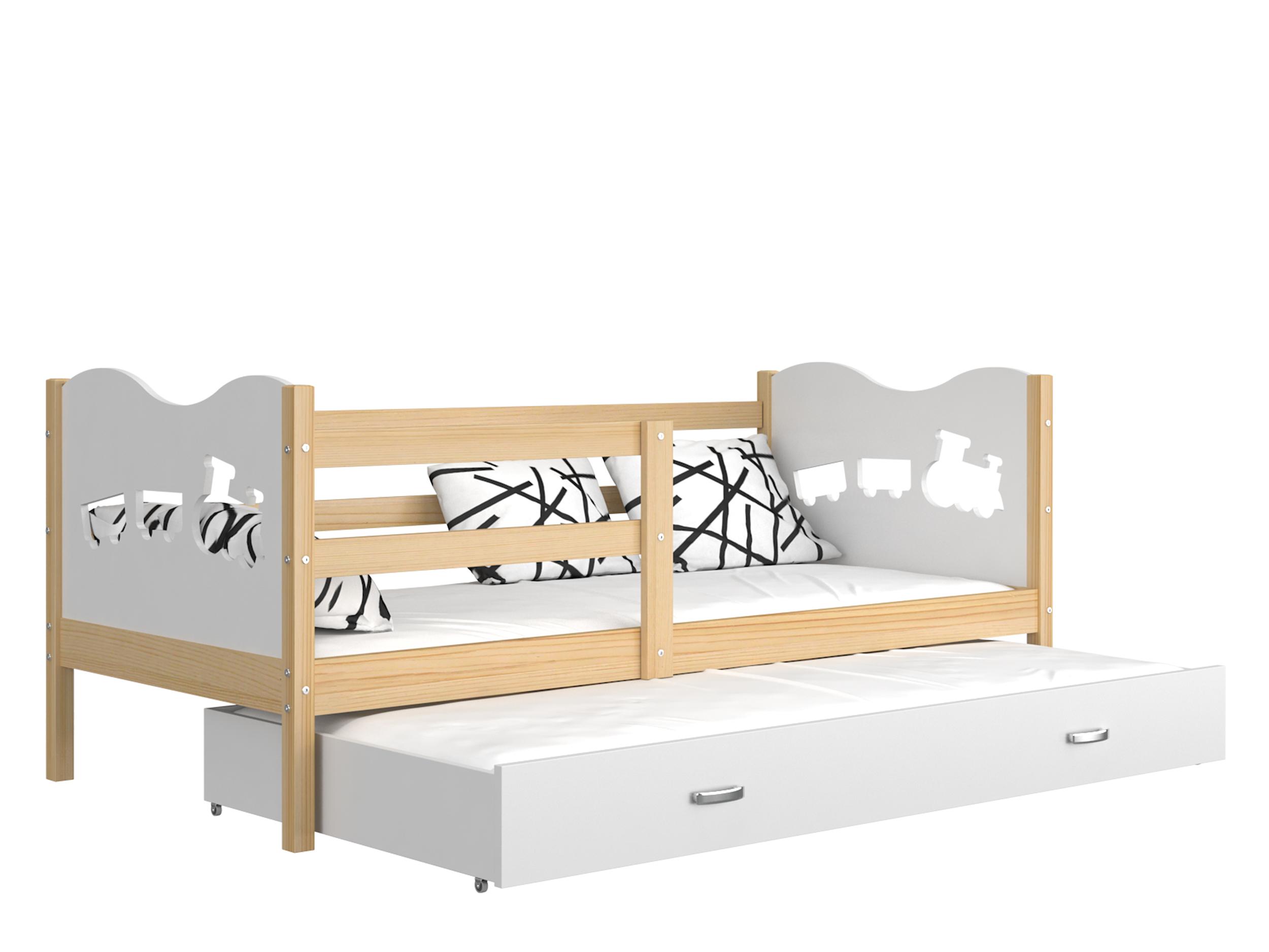 ArtAJ Detská posteľ Max P2 drevo / MDF 190 x 80 cm Max: borovica / biela s matracom 190 x 80 cm