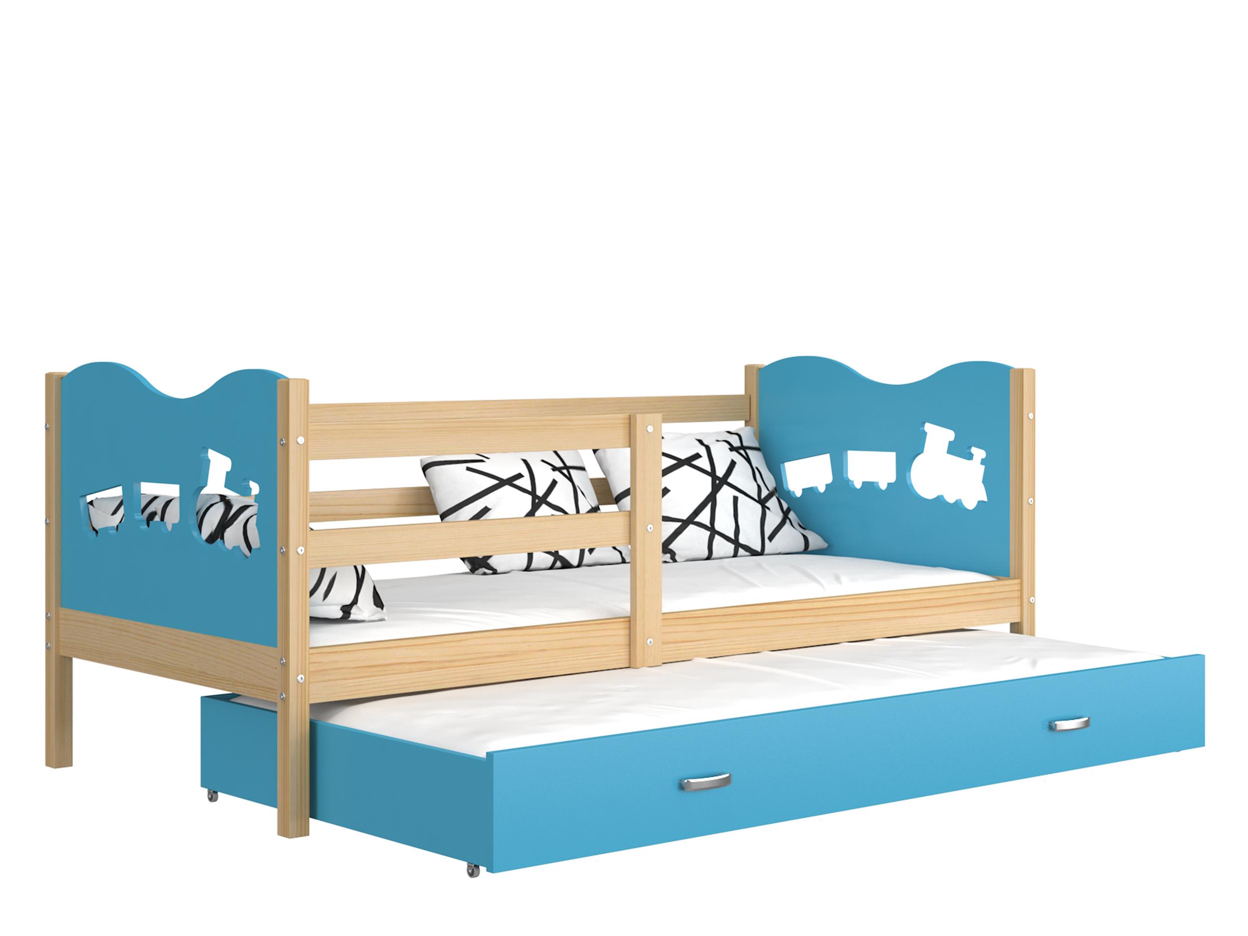 ArtAJ Detská posteľ Max P2 drevo / MDF 190 x 80 cm Max: borovica / modrá s matracom 190 x 80 cm