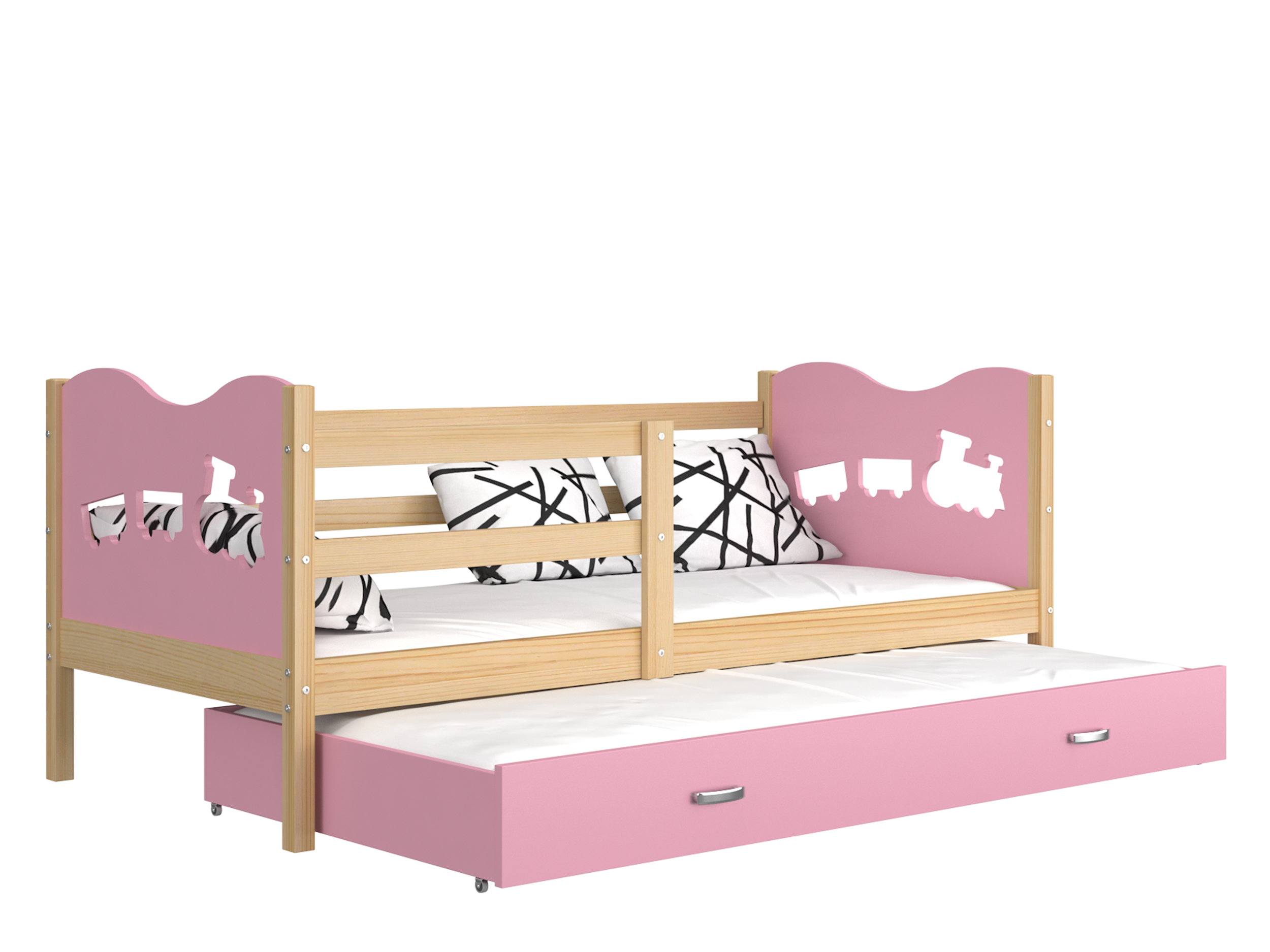 ArtAJ Detská posteľ Max P2 drevo / MDF 190 x 80 cm Max: borovica / ružová s matracom 190 x 80 cm