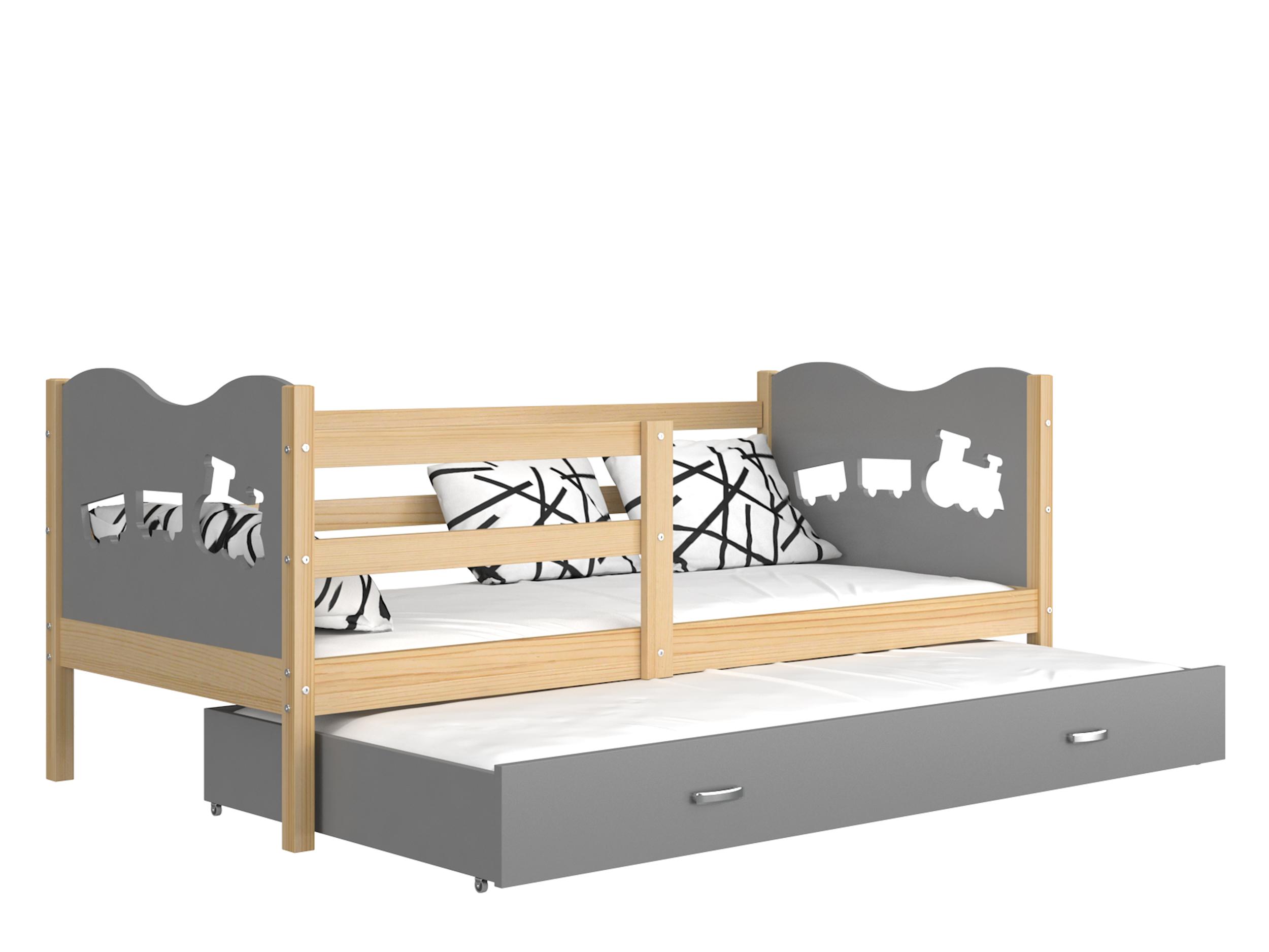 ArtAJ Detská posteľ Max P2 drevo / MDF 190 x 80 cm Max: borovica / sivá s matracom 190 x 80 cm