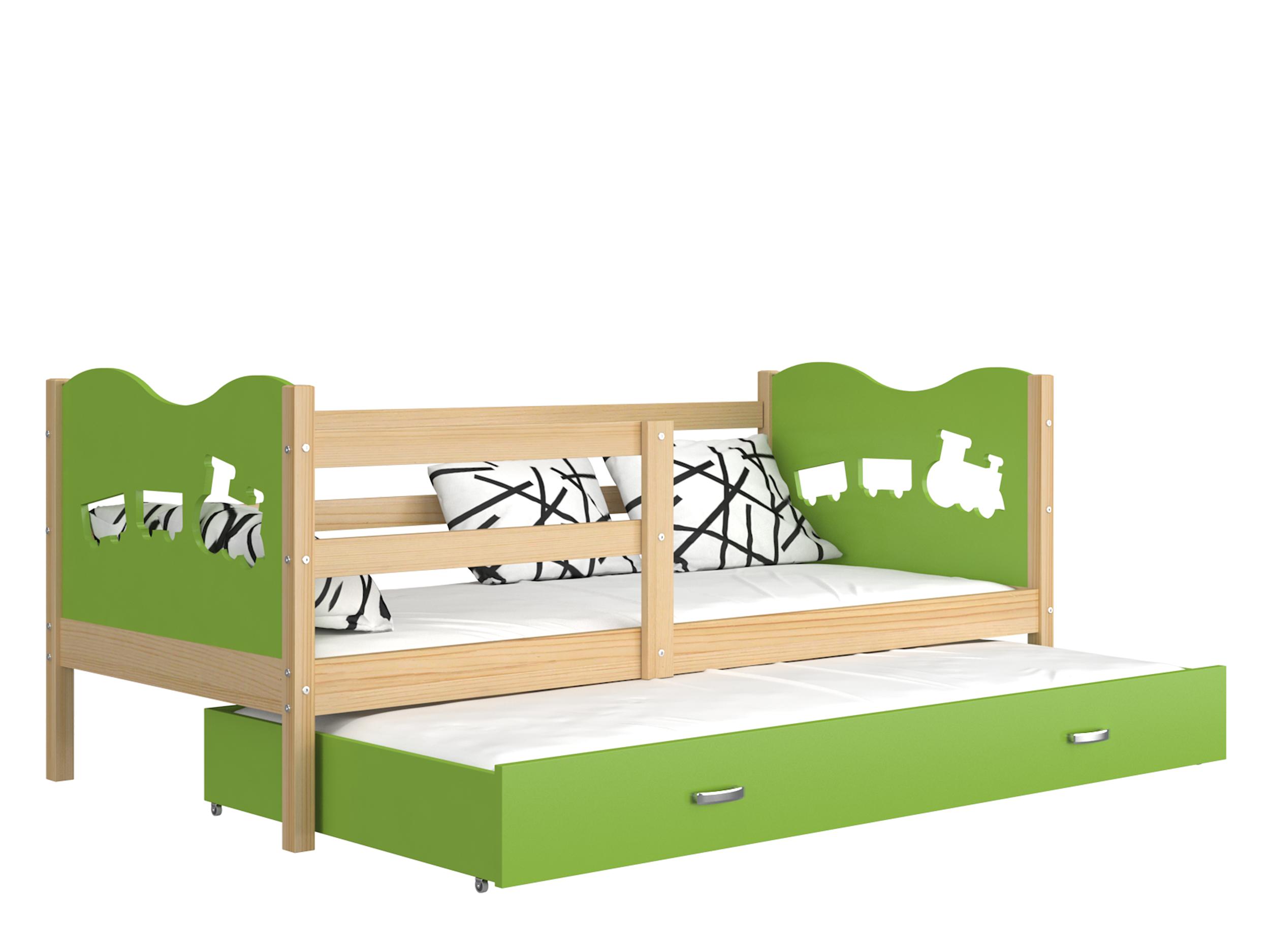 ArtAJ Detská posteľ Max P2 drevo / MDF 190 x 80 cm Max: borovica / zelená s matracom 190 x 80 cm