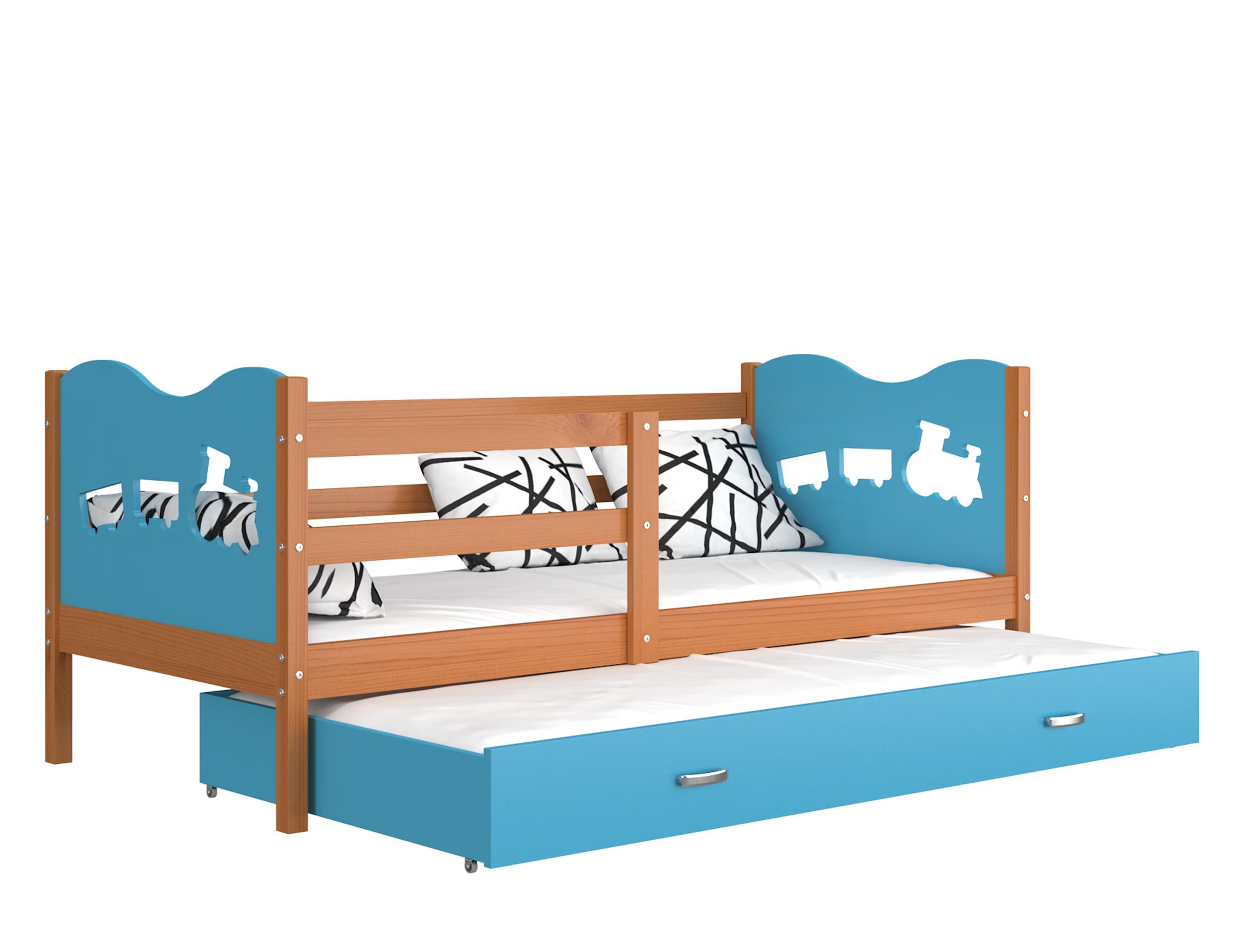 ArtAJ Detská posteľ Max P2 drevo / MDF 190 x 80 cm Max: jelša / modrá s matracom 190 x 80 cm