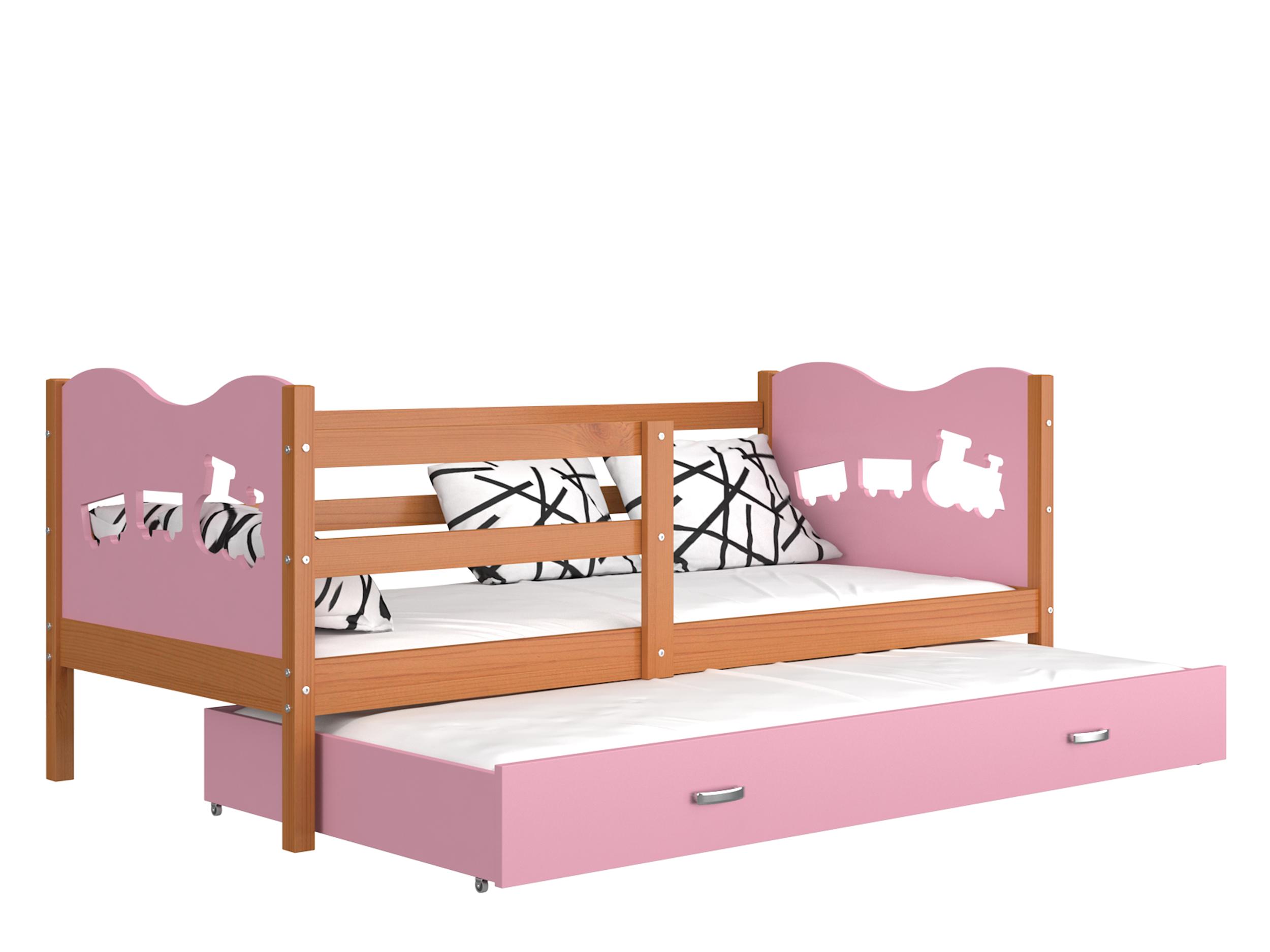 ArtAJ Detská posteľ Max P2 drevo / MDF 190 x 80 cm Max: jelša / ružová s matracom 190 x 80 cm