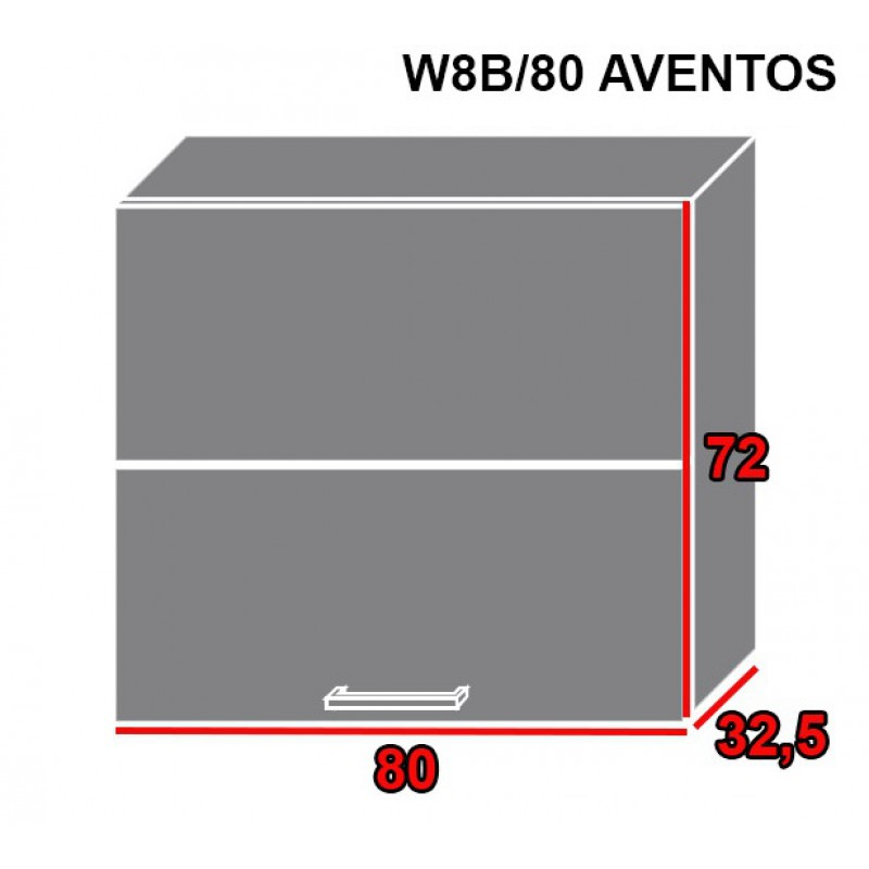 ArtExt Kuchynská linka Pescara Kuchyňa: Horná skrinka W8B/80 AVENTOS / korpus grey, lava, biela (ŠxVxH) 80 x 72 x 32,5 cm