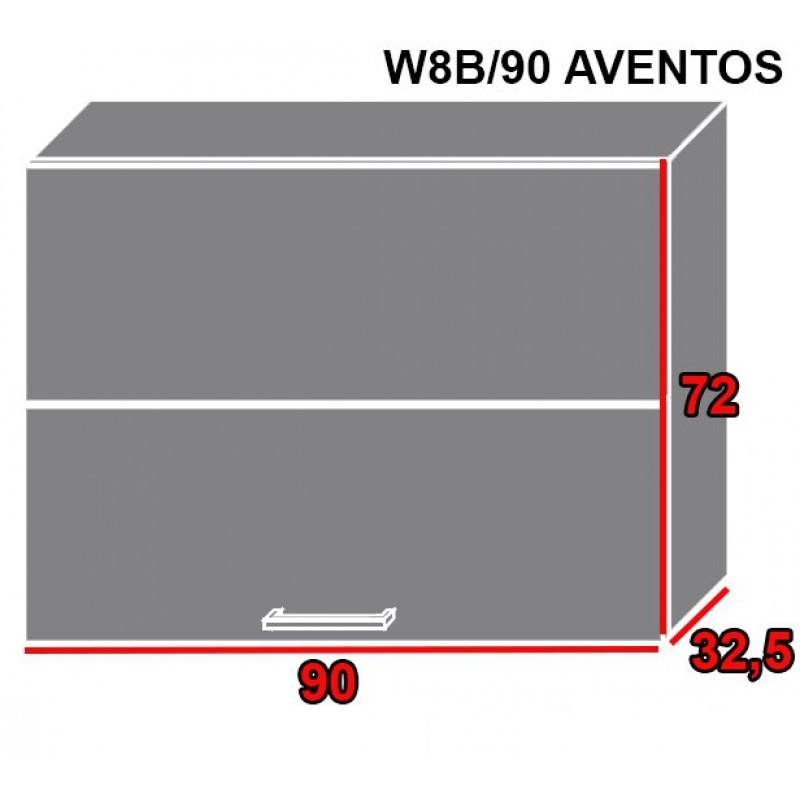 ArtExt Kuchynská linka Pescara Kuchyňa: Horná skrinka W8B/90 AVENTOS / korpus grey, lava, biela (ŠxVxH) 90 x 72 x 32,5 cm