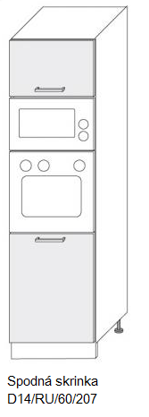 ArtExt Kuchynská linka Pescara Kuchyňa: Spodná skrinka D14/RU/60/207 / (ŠxVxH) 60 x 207 x 56,5 cm