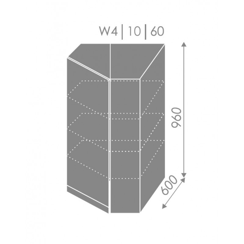 ArtExt Kuchynská linka Pescara Kuchyňa: Horná rohová skrinka W4/10/60 / (ŠxVxH) 60 x 96 x 60 cm - v korpuse grey,biela,lava