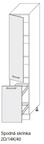 ArtExt Kuchynská linka Pescara Kuchyňa: Spodná skrinka 2D/14K/40 / (ŠxVxH) 40 x 207 x 56,5 cm