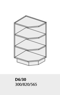 ArtExt Kuchynská linka Tivoli Kuchyňa: Spodná rohová skrinka D6/30 / (ŠxVxH) 30 x 82 x 56,5 cm