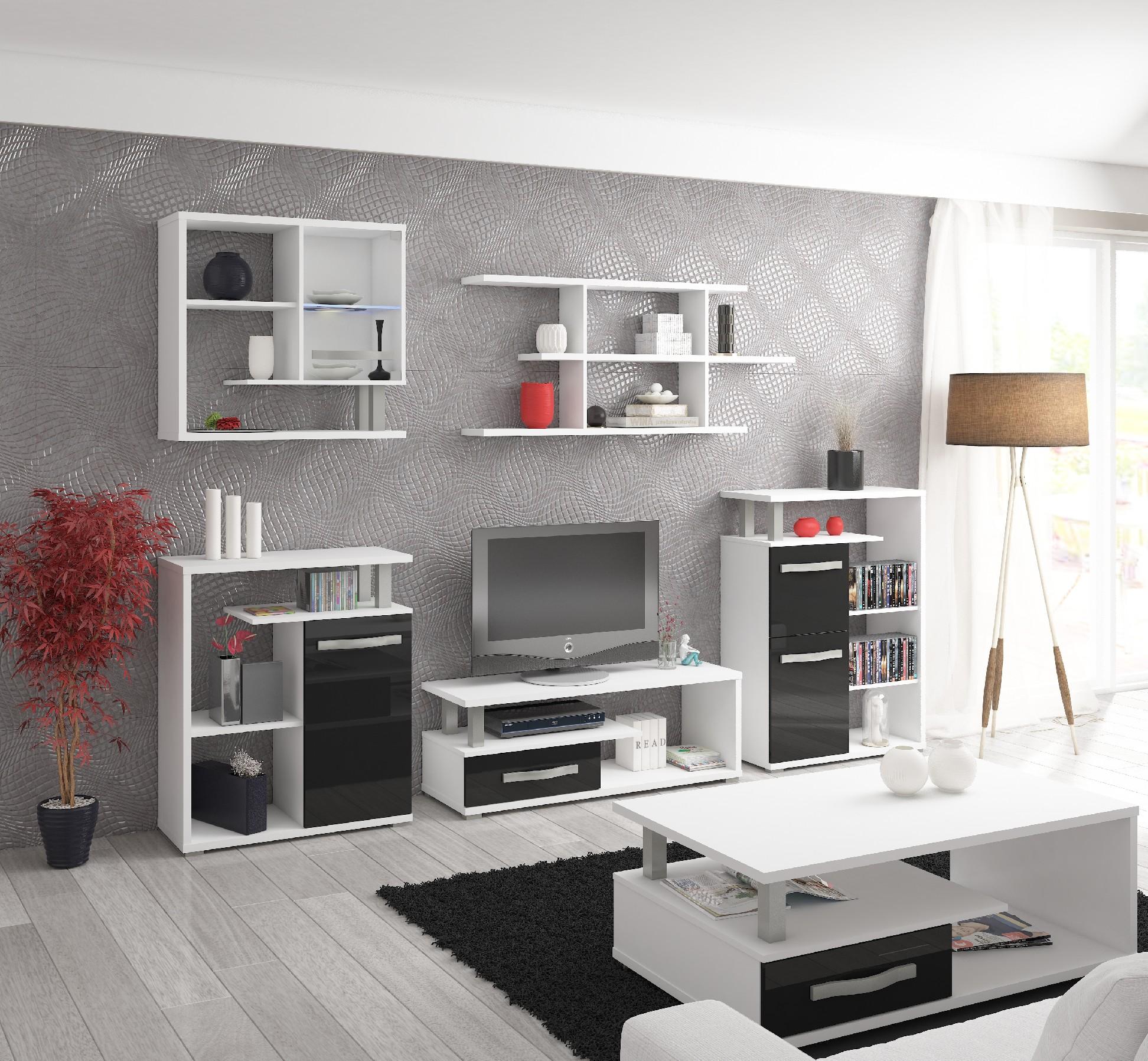 WIP Obývacia stena Angel 1 Farba: Biela / čierny lesk