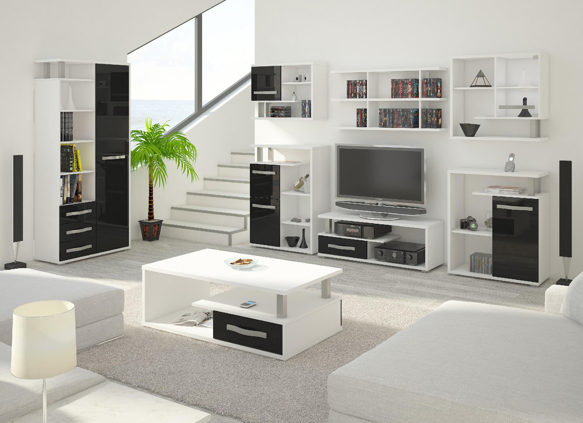 WIP Obývacia stena Angel 7 Farba: Biela / čierny lesk