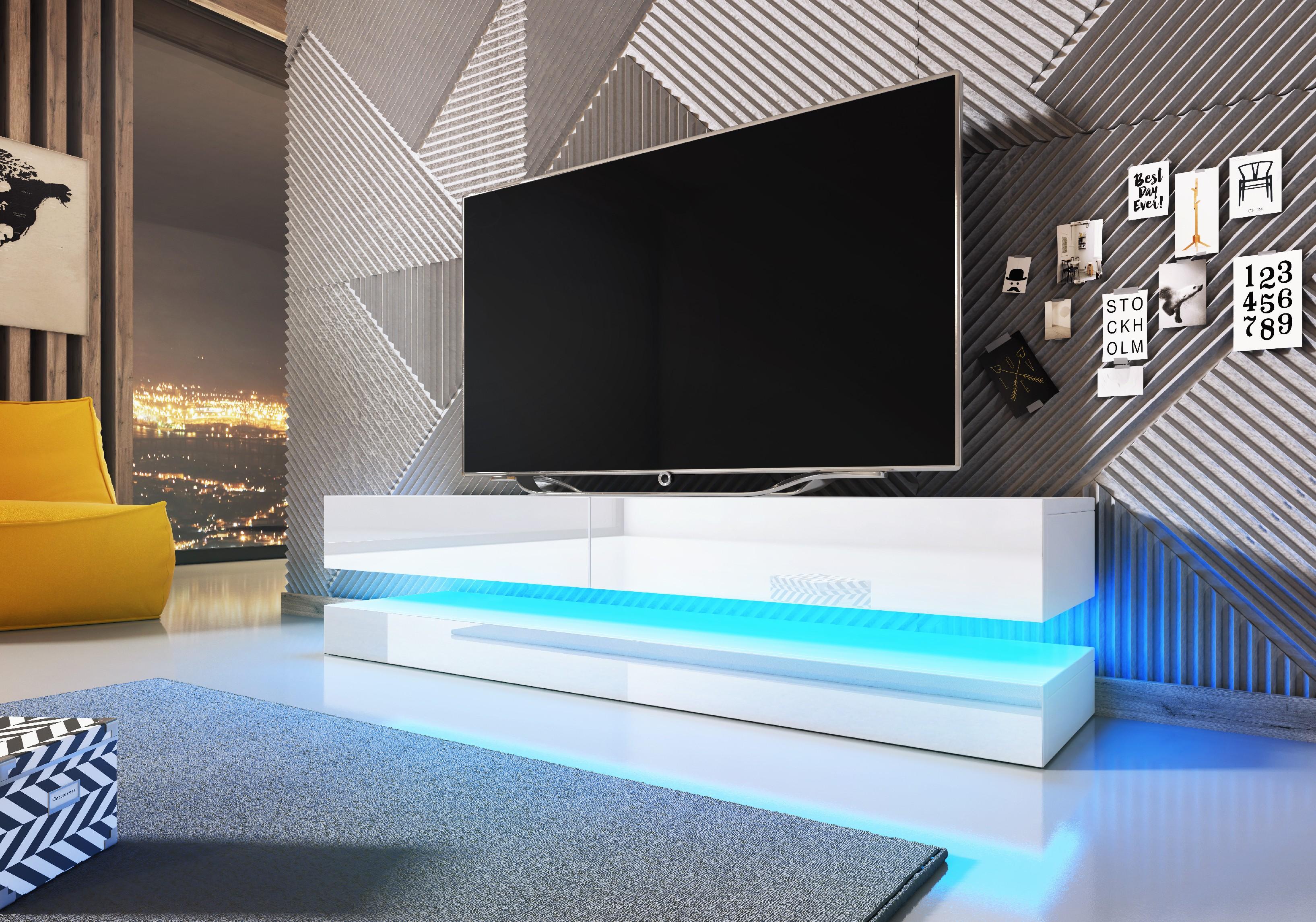 WIP TV stolík FLY Farba: Biela / biely lesk