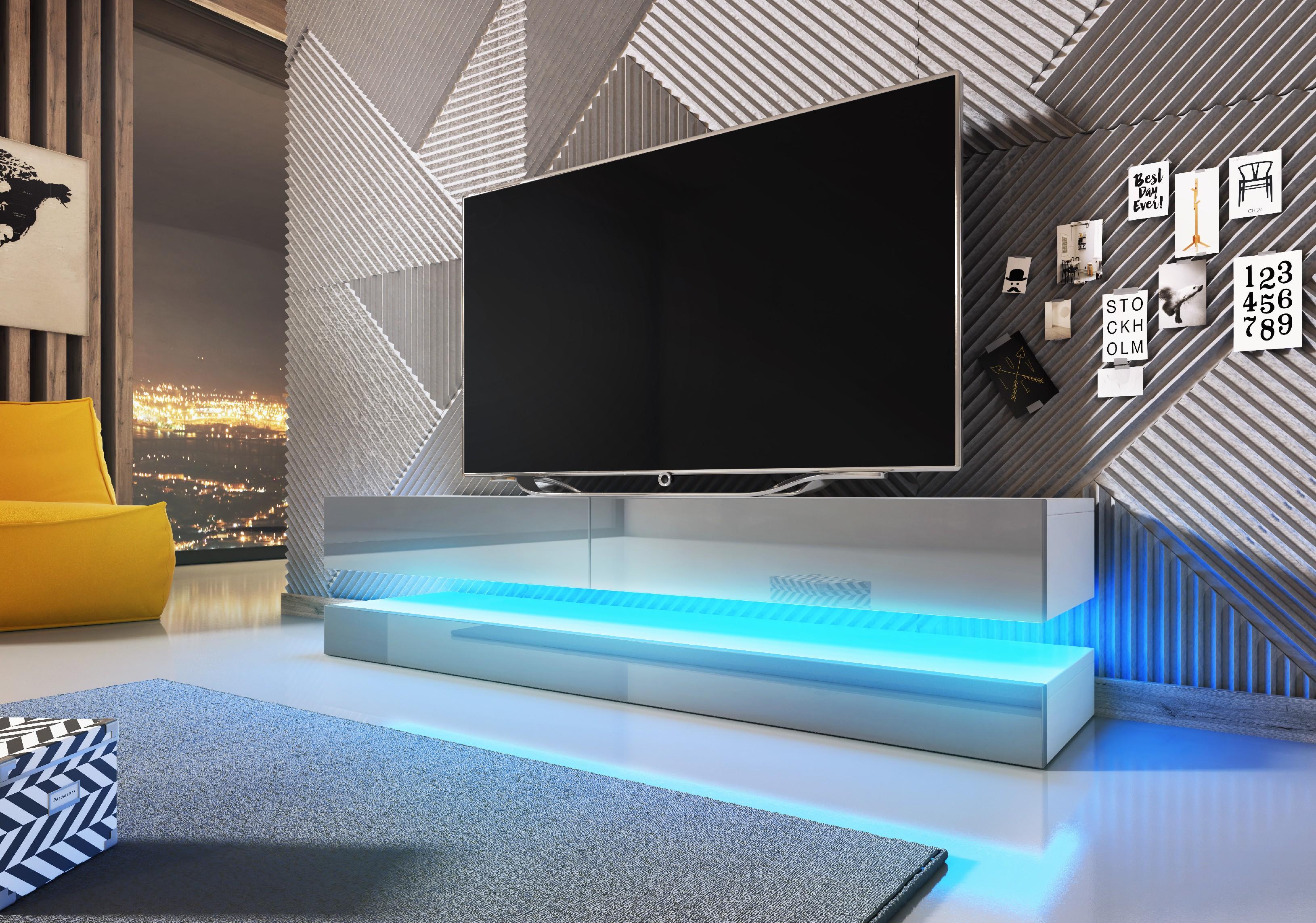 WIP TV stolík FLY Farba: Biela / sivý lesk