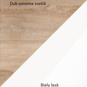 WIP Komoda Angel 06 Farba: Dub sonoma svetlý / biely lesk