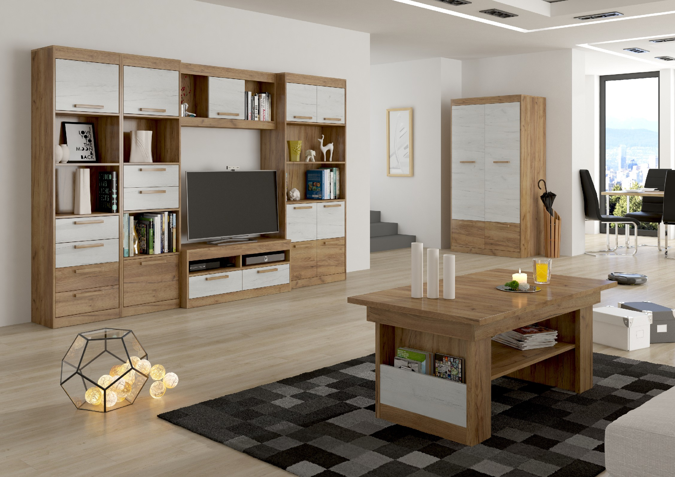 Obývacia stena Maximus WIP 3 Farba: Craft zlatý / craft biely