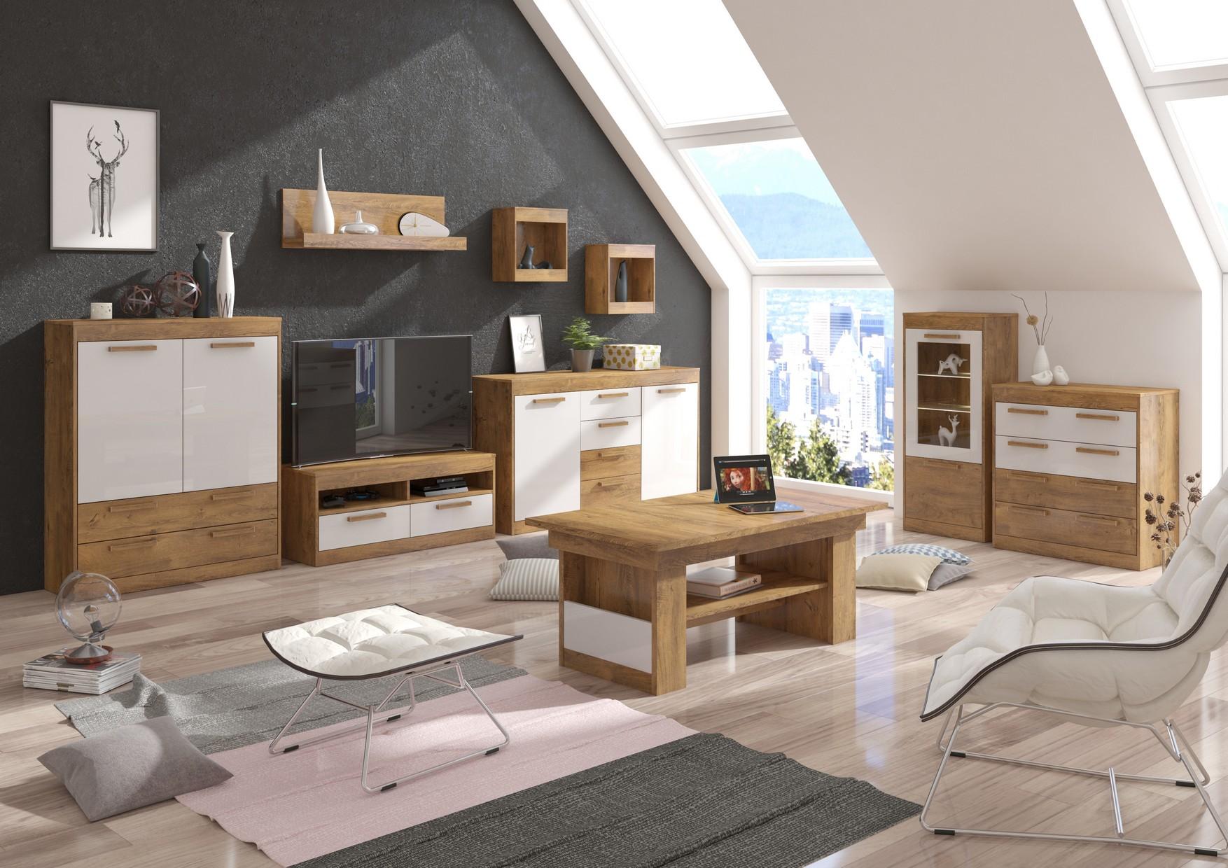 Obývacia stena Maximus WIP 6 Farba: dub burgund/biela lesk