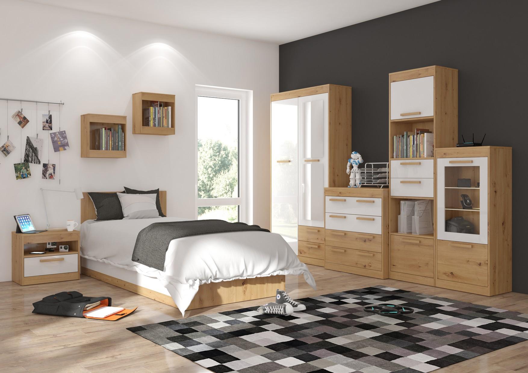 Študentská izba Maximus WIP 8 Farba: Dub ARTISAN/biela lesk