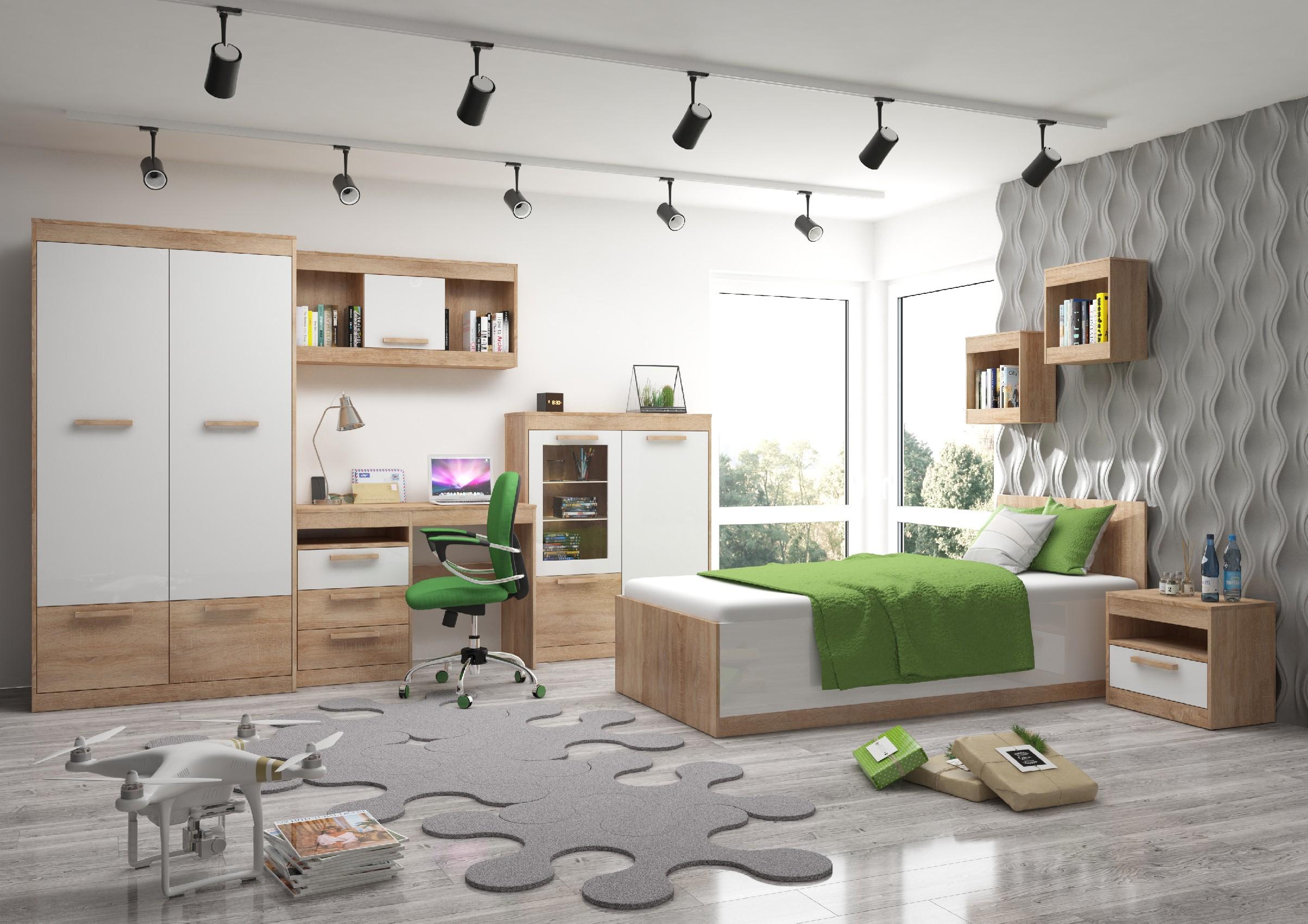 Študentská izba Maximus WIP 9 Farba: Dub sonoma svetlý / biely lesk