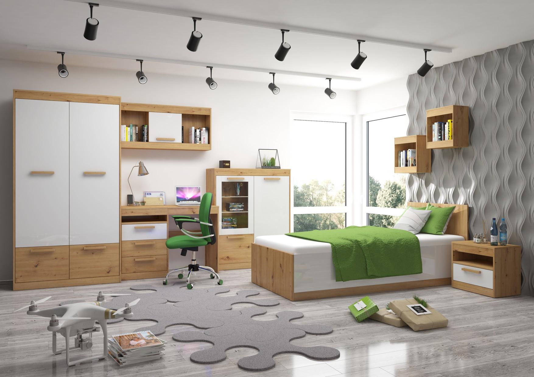 Študentská izba Maximus WIP 9 Farba: Dub ARTISAN/biela lesk