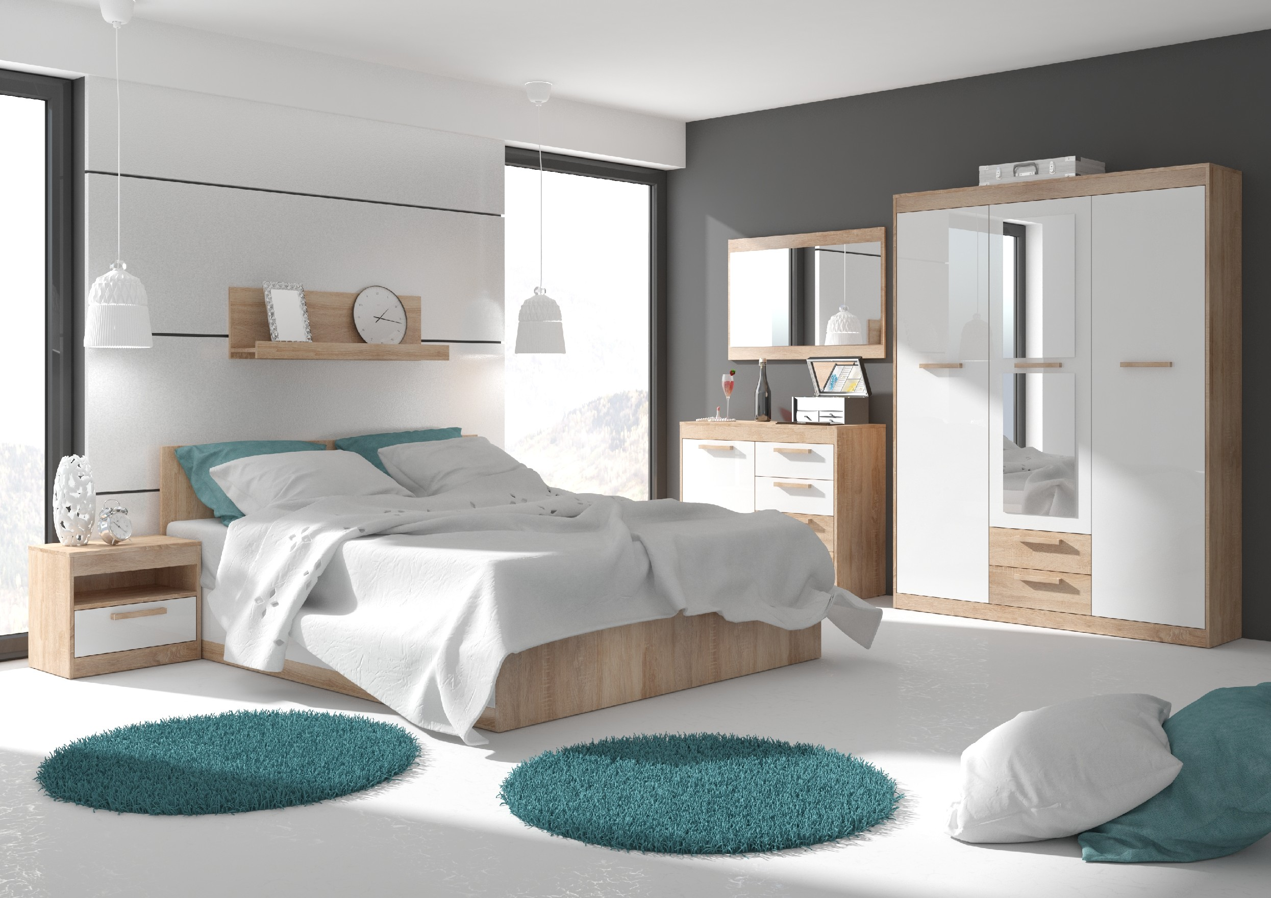 Spálňa Maximus WIP 12 Farba: Dub sonoma svetlý / biely lesk