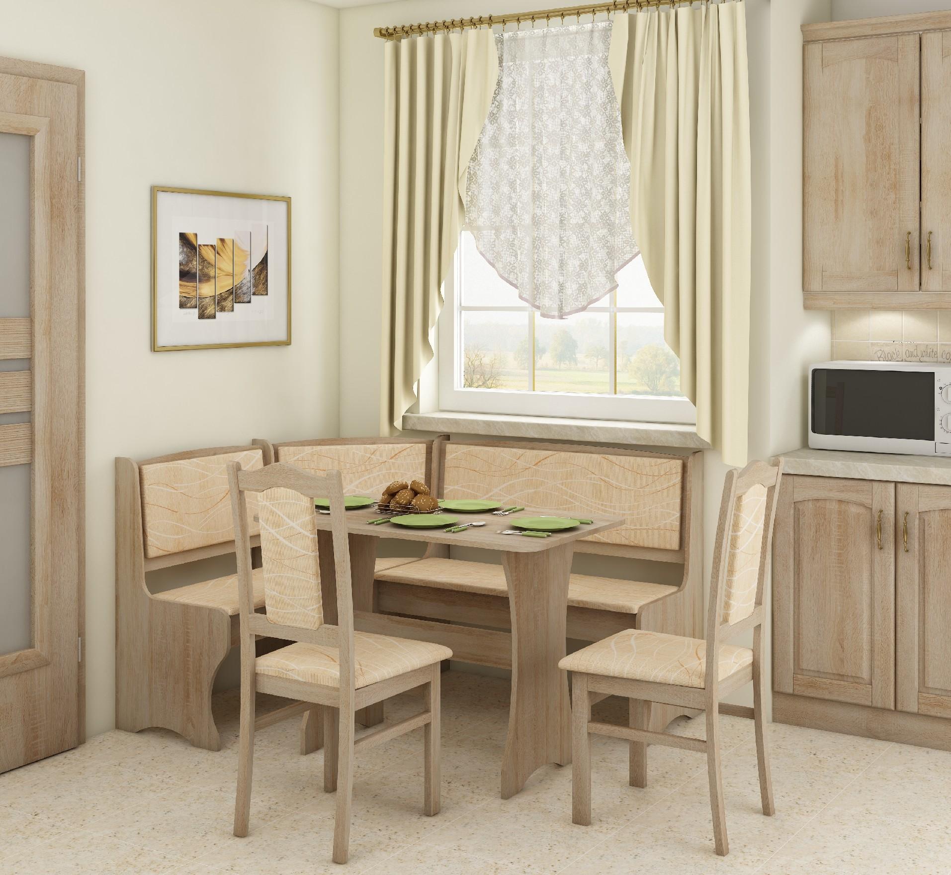 WIP Rohový set so stoličkami Prevedenie: Dub sonoma svetlá / Monaco / Stolička A