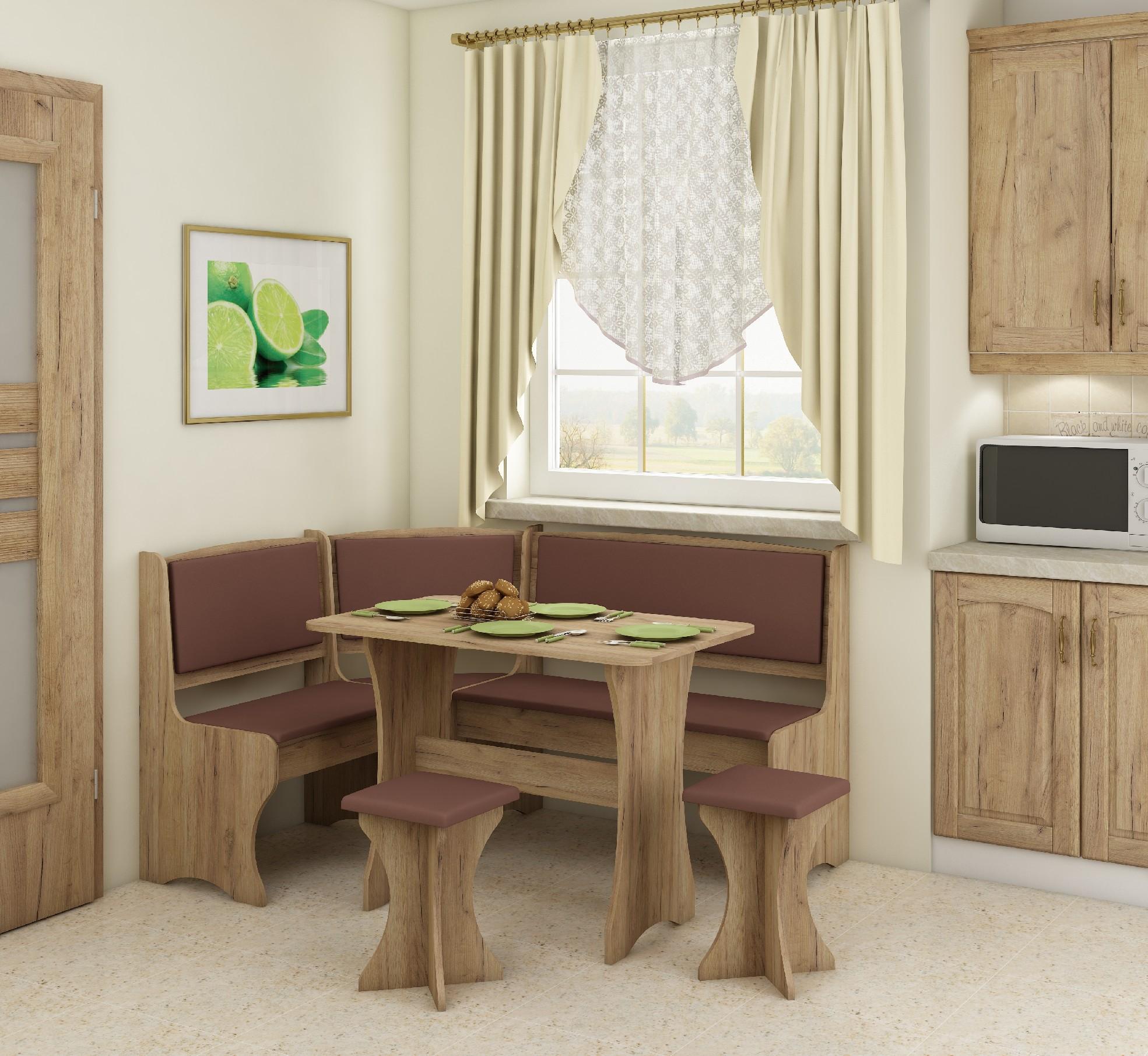 WIP Rohový set s taburetkami Prevedenie: Craft zlatý / Eco hnedá