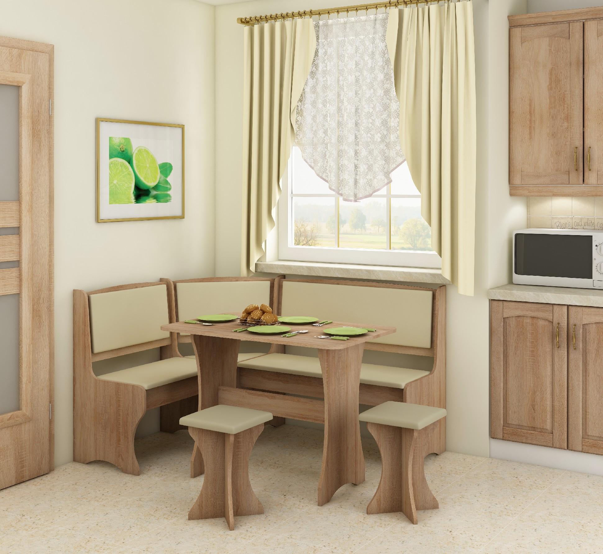 WIP Rohový set s taburetkami Prevedenie: Dub sonoma svetlá / Eco béžová