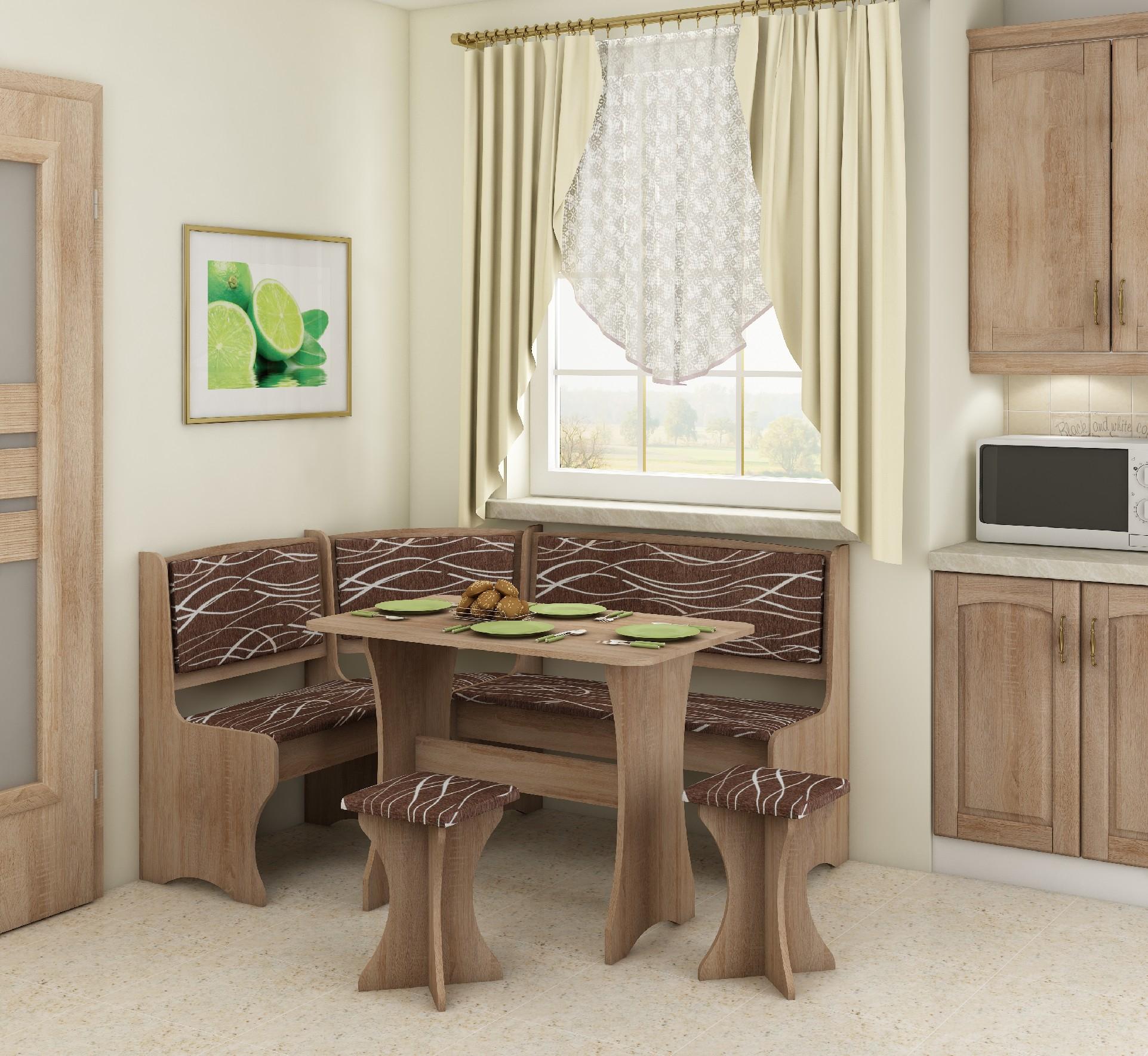 WIP Rohový set s taburetkami Prevedenie: Dub sonoma svetlá / Safari