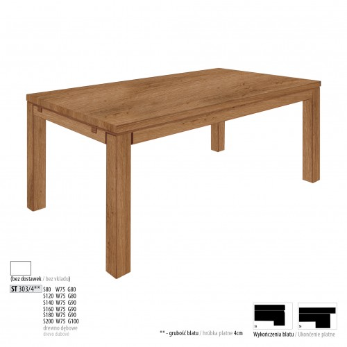 Drewmax Jedálenský stôl - masív ST303 - hrúbka 4 cm / dub Prevedenie: A 80 x 75 x 80 cm