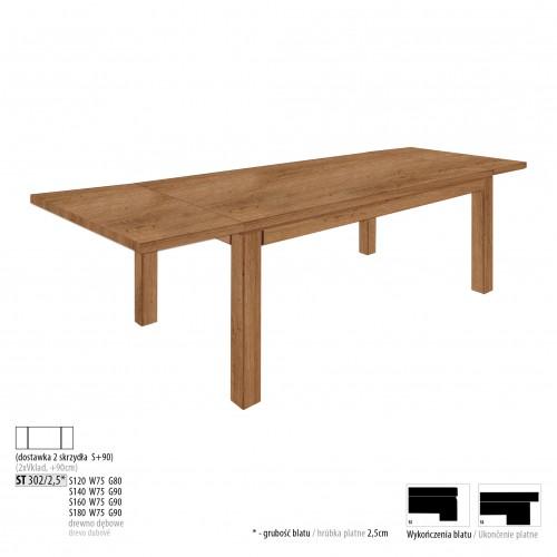 Drewmax Jedálenský stôl - masív ST302 / S90 - hrúbka 2,5cm / dub Prevedenie: D 160 x 75 x 90 cm