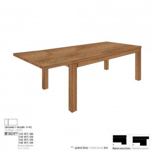 Drewmax Jedálenský stôl - masív ST302 / S45 - hrúbka 4cm / dub Prevedenie: C 140 x 75 x 90 cm