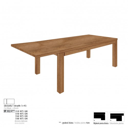 Drewmax Jedálenský stôl - masív ST302 / S45 - hrúbka 4cm / dub Prevedenie: D 160 x 75 x 90 cm