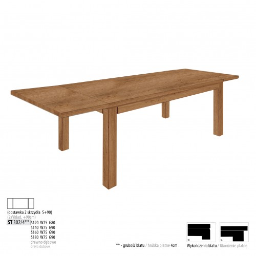Drewmax Jedálenský stôl - masív ST302 / S90 - hrúbka 4cm / dub Prevedenie: C 140 x 75 x 90 cm