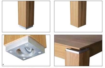 Drewmax Jedálenský stôl - masív ST381 / dub Doplnok: Hliníkové ukončenie nôh stola