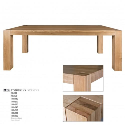 Drewmax Jedálenský stôl - masív ST390 / dub Prevedenie: B 90 x 75 x 160 cm