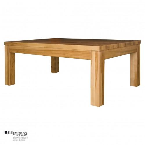 Drewmax Konferenčný stolík - masív ST311 - hrúbka 4 cm / dub Prevedenie: B 120 x 50 x 80 cm