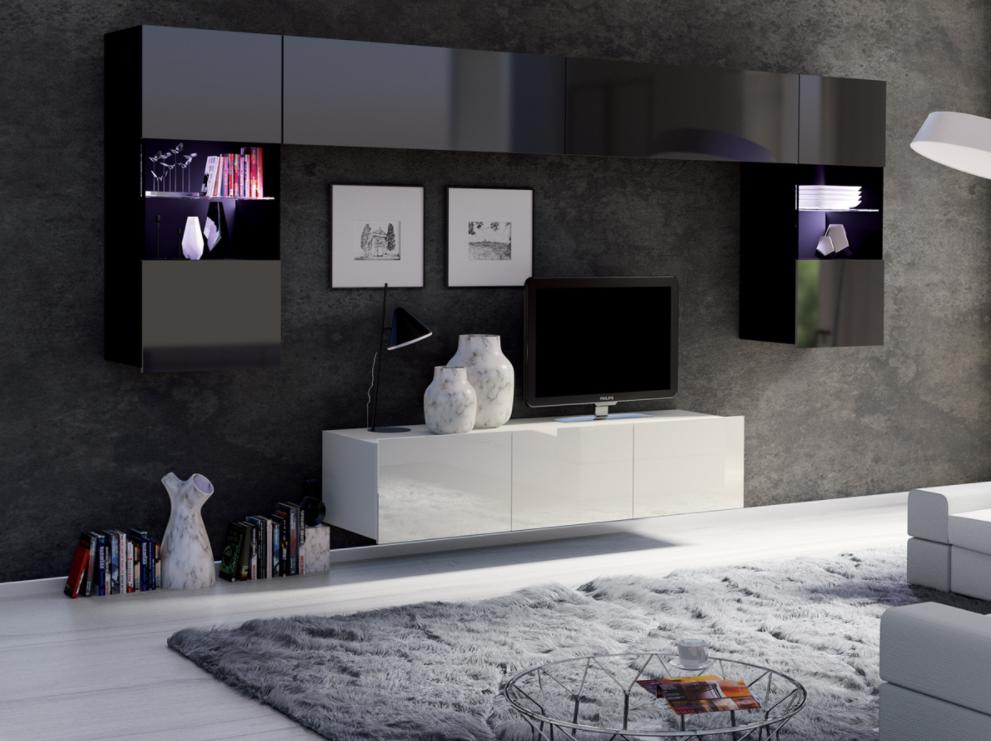 ArtElb Obývacia stena CALABRINI II Farba: Biela - biely lesk / čierna - čierny lesk