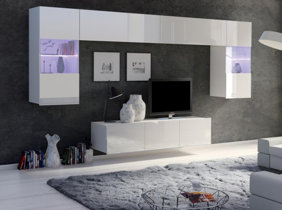 ArtElb Obývacia stena CALABRINI II Farba: Biela / biely lesk