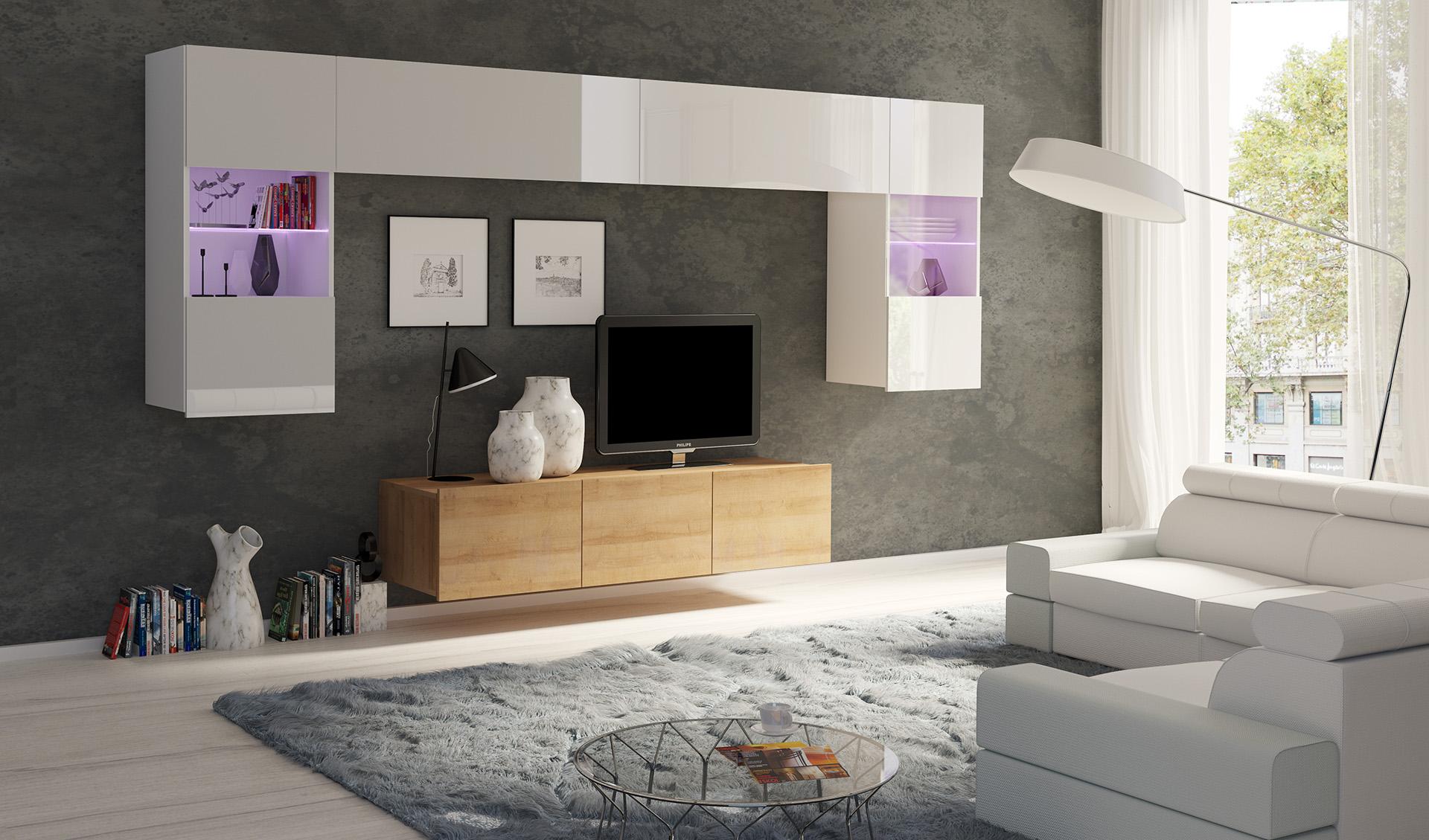ArtElb Obývacia stena CALABRINI II Farba: Dub zlatý / biela-biely lesk