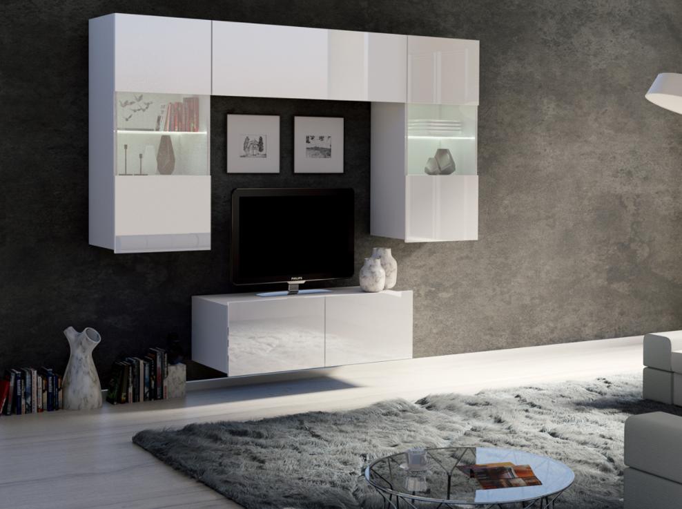ArtElb Obývacia stena CALABRINI X Farba: Biela / biely lesk