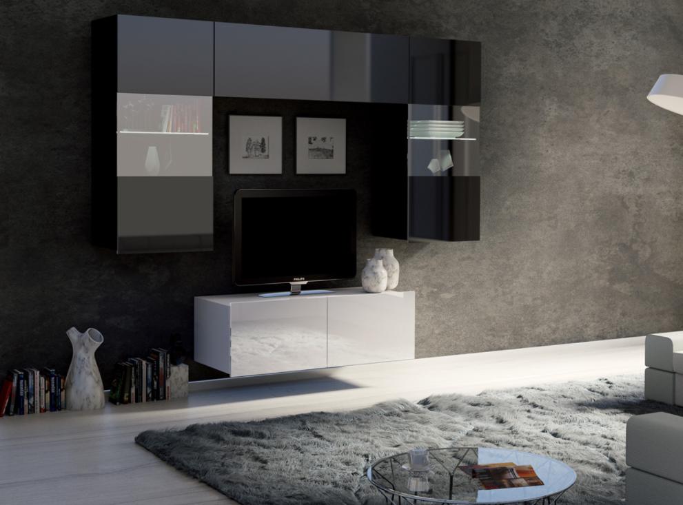ArtElb Obývacia stena CALABRINI X Farba: Biela - biely lesk / čierna - čierny lesk