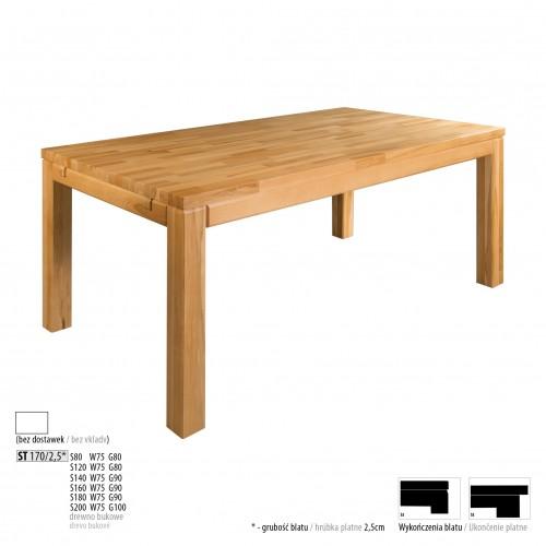 Drewmax Jedálenský stôl - masív ST170 - hrúbka 2,5cm / buk Prevedenie: D 160 x 75 x 90 cm