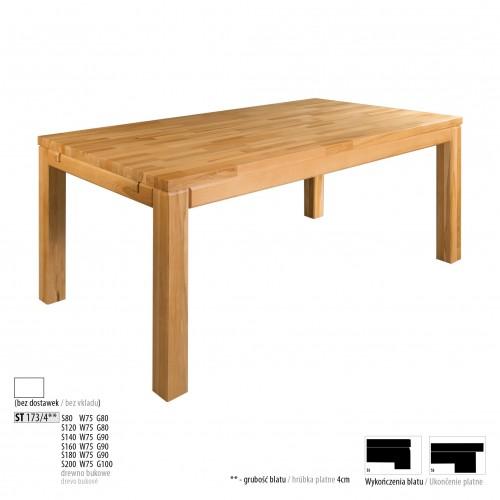 Drewmax Jedálenský stôl - masív ST173 - hrúbka 4 cm / buk Prevedenie: A 80 x 75 x 80 cm