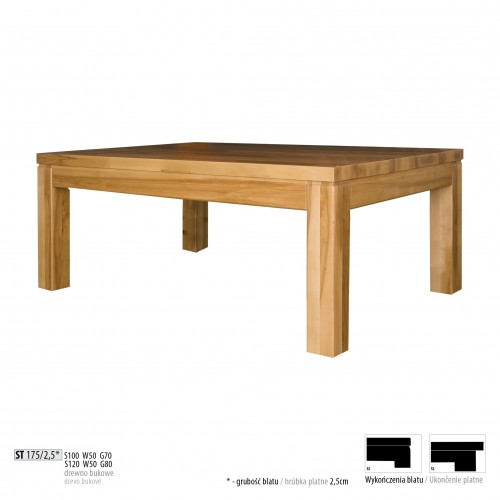 Drewmax Konferenčný stolík - masív ST175 - hrúbka 2,5 cm / buk Prevedenie: B 120 x 50 x 80 cm