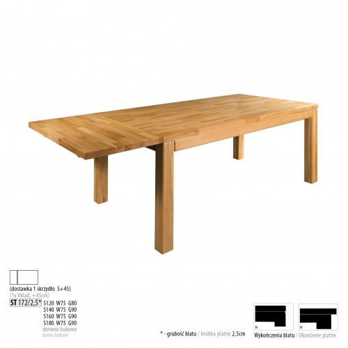 Drewmax Jedálenský stôl - masív ST172 / S45cm - hrúbka 2,5cm / buk Prevedenie: D 160 x 75 x 90 cm