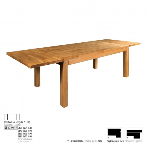 Drewmax Jedálenský stôl - masív ST172 / S90cm - hrúbka 4cm / buk Prevedenie: D 160 x 75 x 90 cm