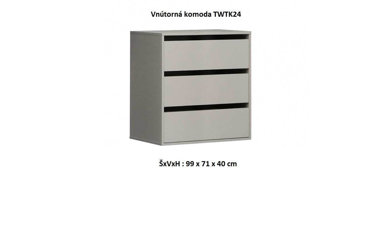 Forte Šatníková skriňa Starlet White STPS124E1 Prevedenie: Vnútorná komoda - TWTK24