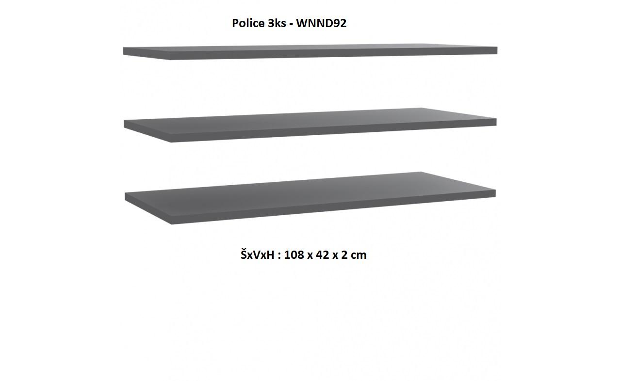 Forte Šatníková skriňa Starlet White STPS924E1 Prevedenie: Police 3ks - WNND92
